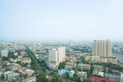 在曼谷采取的摩天大楼顶视图泰国 免版税库存照片
