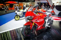 在曼谷motorshow的红色GPX邪魔150 GR摩托车2018年 免版税图库摄影