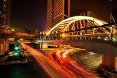 在曼谷skytrain的崇公Nonsi skywalk 免版税库存照片