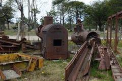 在最南端的铁路的老机车锅炉在世界上 库存图片