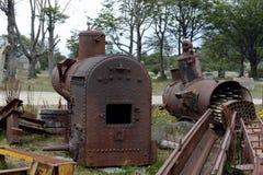 在最南端的铁路的老机车锅炉在世界上 免版税图库摄影