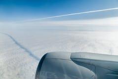 在最后渐近的客机 免版税库存照片