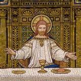 在最后的晚餐期间的耶稣 免版税库存图片