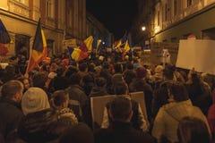 在最大的奇特的抗议的罗马尼亚人集会 免版税库存图片