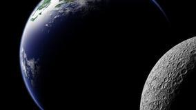 在月亮后的行星地球 免版税图库摄影