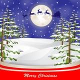 在月亮和圣诞树背景的圣诞老人雪橇 免版税库存图片
