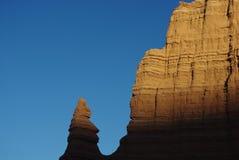 在月亮的寺庙,国会大厦礁石,犹他的日落 免版税库存照片