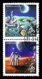 在月亮的无人苏联探针;苏联宇航员和美国人 免版税图库摄影