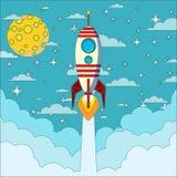 在月亮背景的火箭队,传染媒介例证 免版税图库摄影