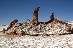 在月亮谷,阿塔卡马的岩层 免版税图库摄影