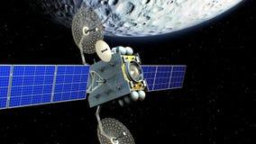在月亮轨道, 3d的虚构的人造卫星动画 月亮的纹理在图形编辑被创造了 库存例证