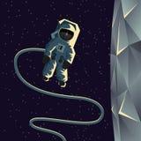 在月亮附近的宇航员空间行走 平的几何例证 向量例证