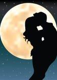 在月光下的爱,传染媒介例证 免版税库存图片
