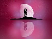 在月光反映的恋人 库存例证