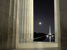 在月光的华盛顿特区地标 免版税图库摄影