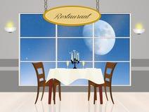在月光的浪漫晚餐 库存照片
