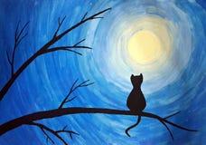 在月光的猫剪影 免版税库存照片