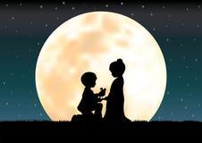 在月光,传染媒介例证下的爱 皇族释放例证