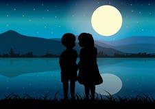 在月光,传染媒介例证下的爱 库存图片