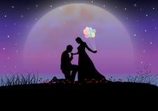 在月光,传染媒介例证下的爱 库存照片
