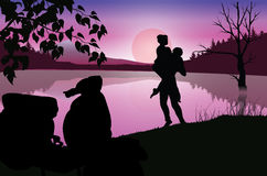 在月光,传染媒介例证下的爱 图库摄影