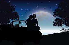 在月光,传染媒介例证下的爱 免版税图库摄影