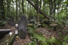 在有历史的犹太墓地华沙的老石坟墓 库存图片