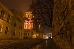 在有启发性亚历山大・涅夫斯基大教堂的夜视图 免版税库存照片