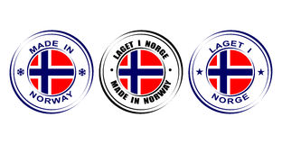 在有旗子的挪威制造的圆的标签 免版税库存图片