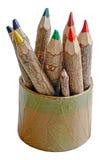 在有机的箱子的木颜色蜡笔 库存图片