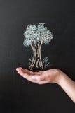在有白垩的黑板画的树 免版税库存照片