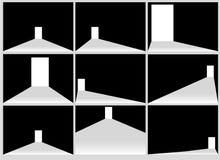 在有穿过它的光的一个暗室打开门 光通过在透明背景的空白输入 库存照片