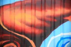 在有肋骨墙壁上的颜色街道画 库存图片
