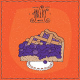 在有花边的餐巾的鲜美蓝色莓果饼 库存例证