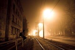 在有雾的街道上的一个人在晚上 库存图片