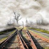 在有雾的风景的铁路 库存照片