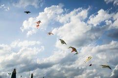 在有风多云天空的风筝 库存图片