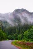 在有风的路的山 免版税库存照片