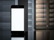在服务器室内部的智能手机  3d翻译 免版税库存照片