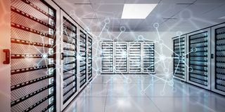 在服务器室数据中心3D翻译的抽象网络 免版税库存照片