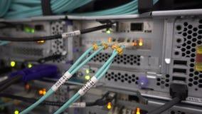 在服务器机架背景的纤维光导电缆 射击用手,那里是振动 股票视频