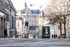在服务的电车在巴塞尔,瑞士 库存照片