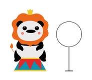 在服装狮子的熊猫 免版税库存图片