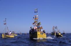 在朝圣期间的木fishboat在Swarzewo附近 库存图片
