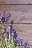 在木书桌上的淡紫色花 库存照片