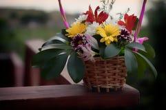 在木书桌摄影的菊花花束 免版税库存图片