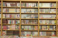 在木书橱的许多不同的书 免版税库存照片