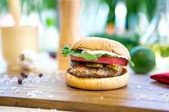 在木切板的开胃汉堡包 腌汁、葱和切达干酪 免版税库存图片