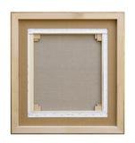 画廊在木制框架修建的被包裹的空白后面视图帆布 免版税库存照片