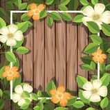 在木制框架的花 皇族释放例证